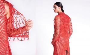 Red jacket and dress Photo credit Daria Ratiner הדפסת תלת מימד